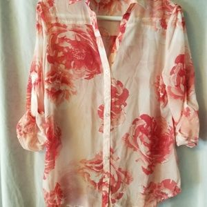 Pink and coral flower chiffon 3/4 sleeve shirt